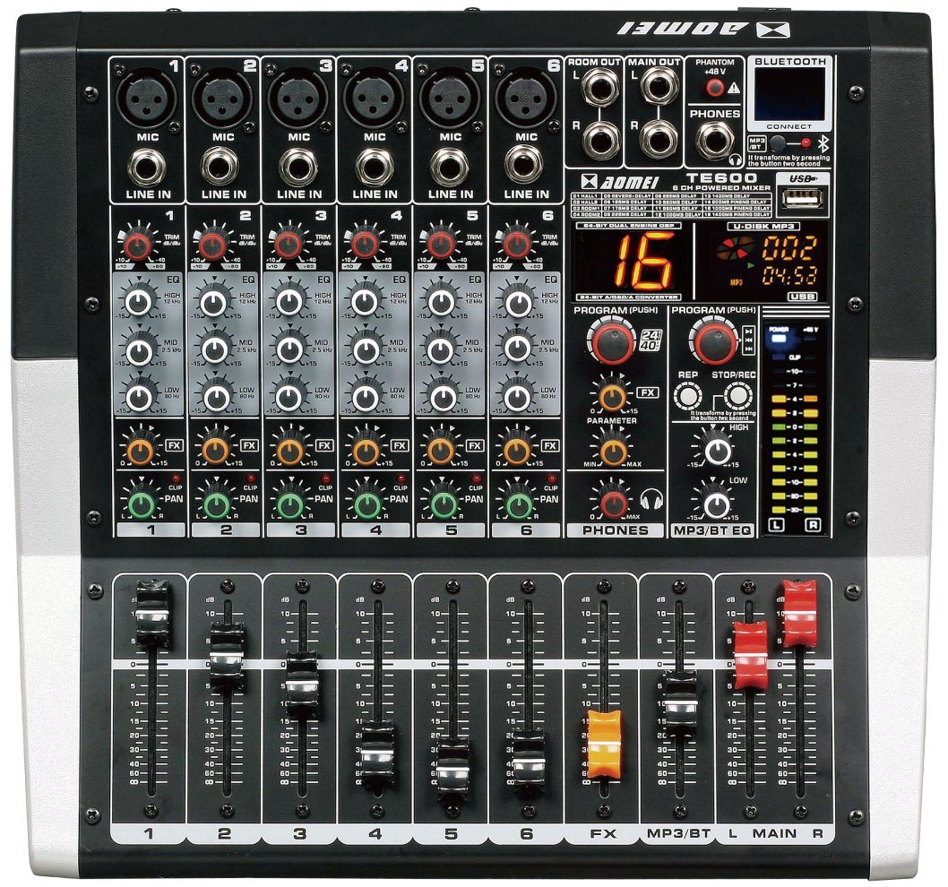 Special New Design Powered Mixer Te600 Series Professional Audio Amplifier