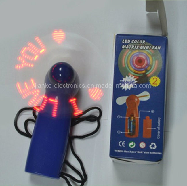Promotional Flashing Light LED Mini Fan with Logo Printed (3509)