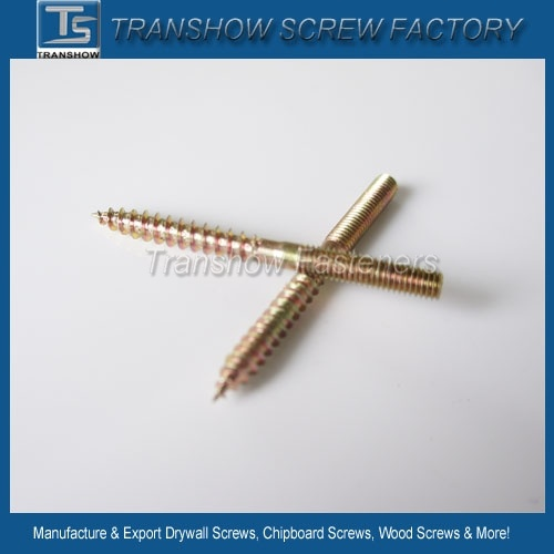 Double End Wood Threaded Dowel Screw /Hanger Bolt Carbon Steel Zinc-Plated