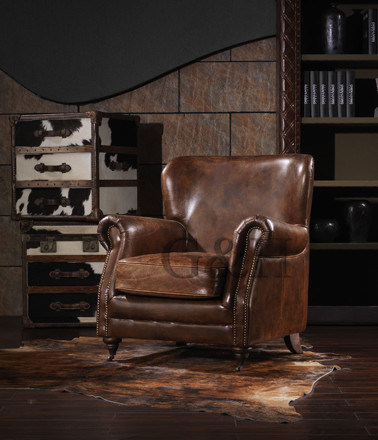 Antique Leather Armchair for Living Room