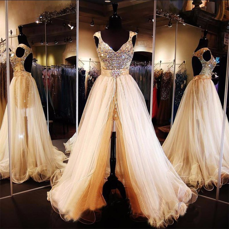 Cap Sleeves Prom Gown Crystals Tulle Party Evening Dresses Z607