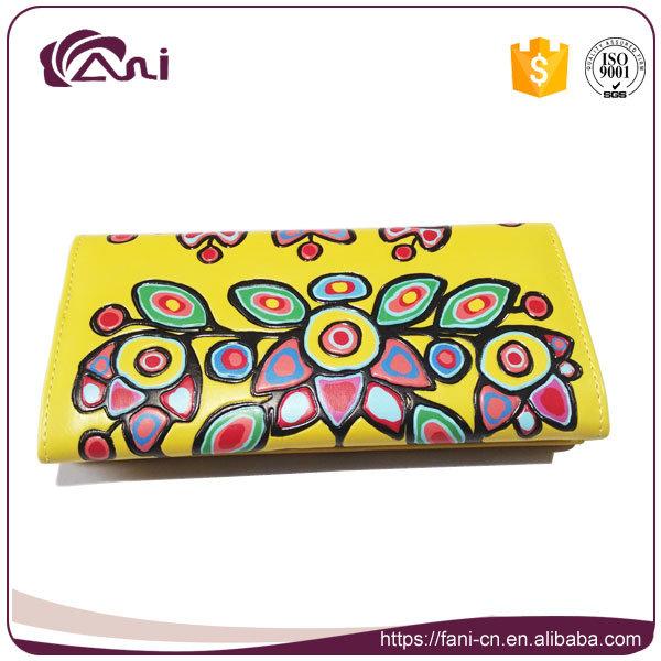 Custom Embossed Wallet, PU Leather Flower Printed Wallet