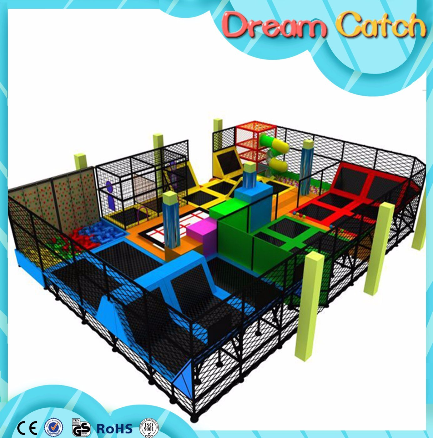 2017 Arrival New Children Plastic Indoor Trampoline Park in Factory Price