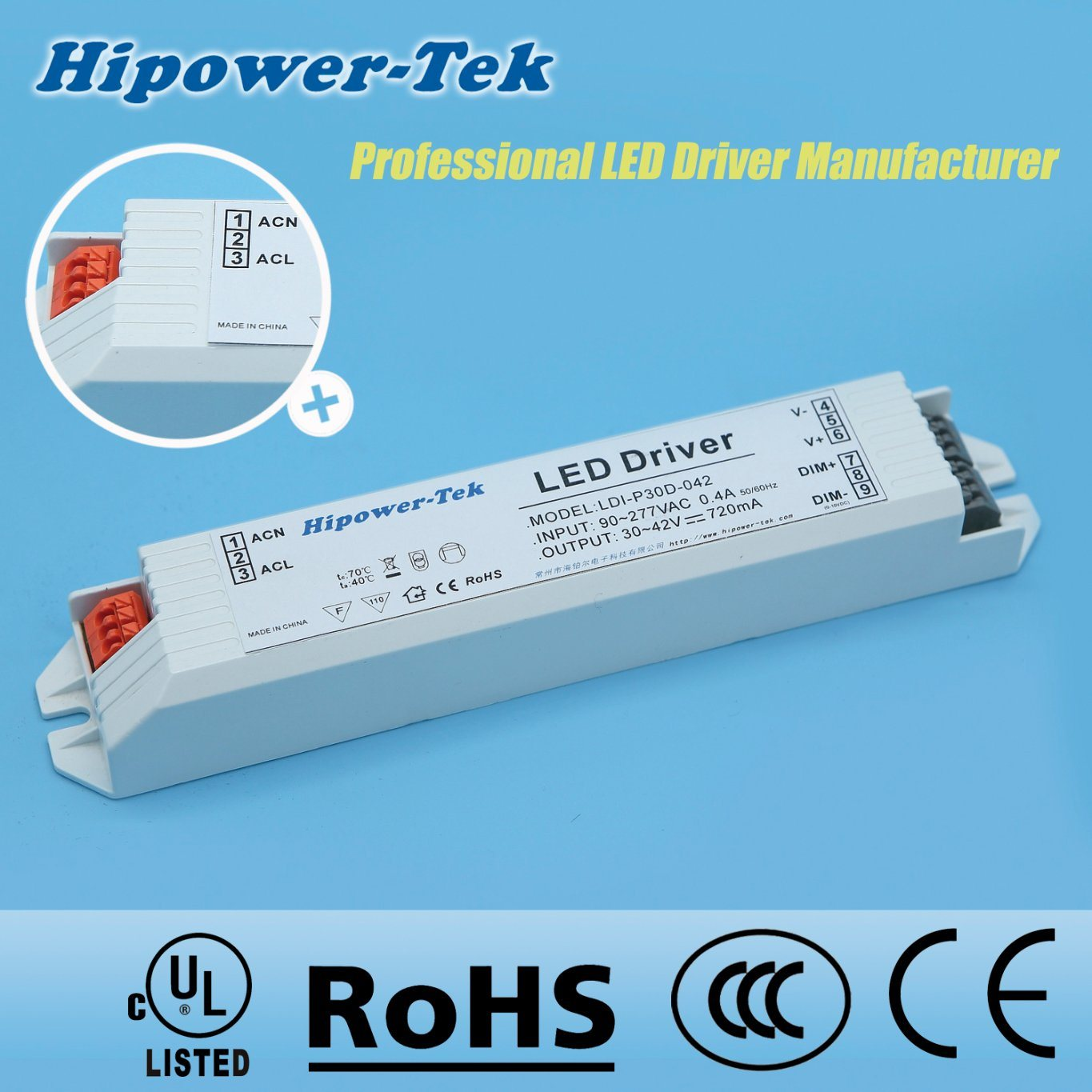 30W Constant Current Plastic Case Dimming Power Supply LED Driver