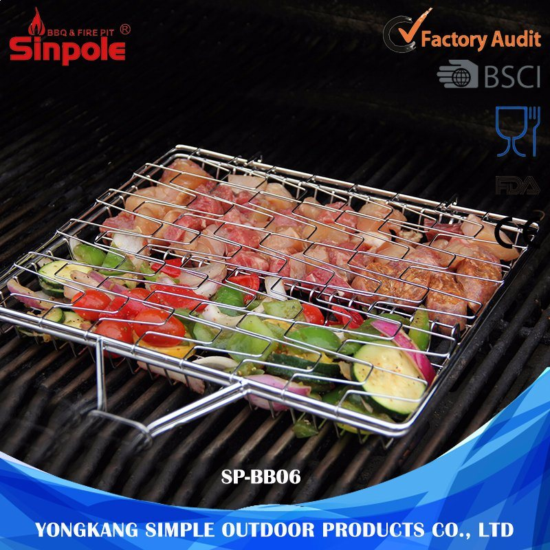 Portable Charcoal Steel Wire Mesh Vegetable BBQ Grill Basket