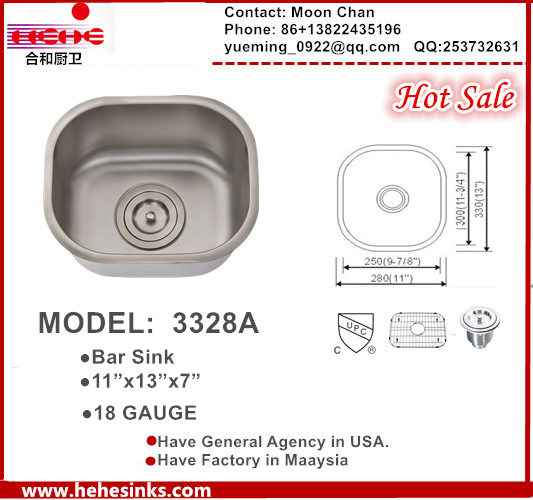 Bar Sink, Stainless Steel Kitchen Sink, Handmade Sink Model: 3328A
