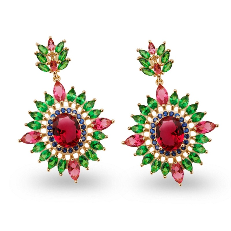 Colorful Stone Design Brass Zircon Jewelry Chandelier Earrings
