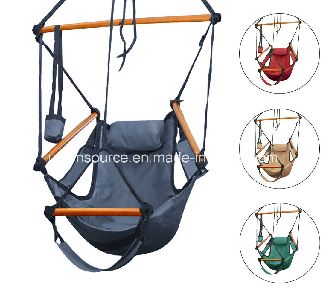 Hanging Hammock Chair with Wood Spread Bar&Foot Rest (CHC00004)
