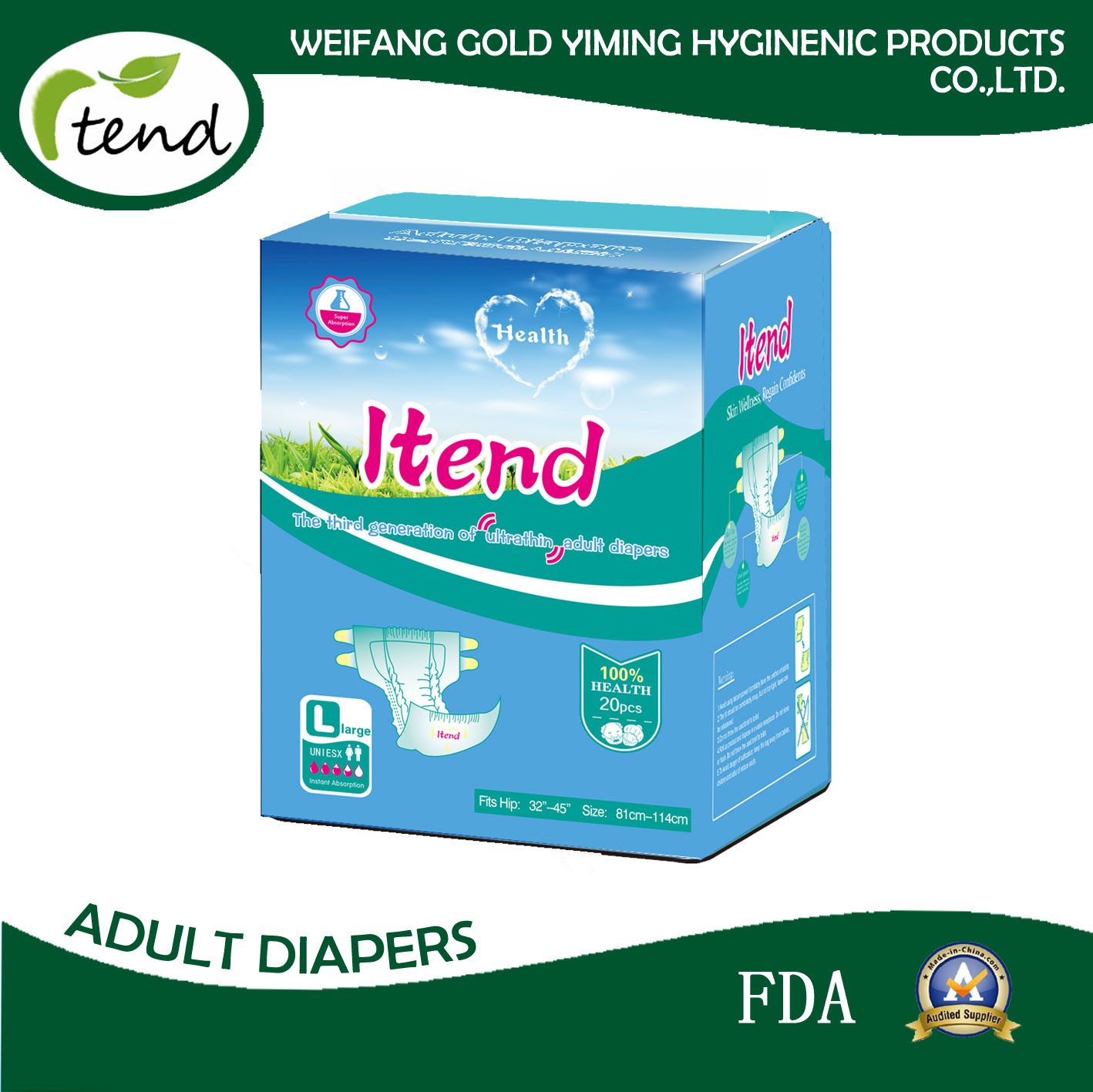 Disposable Adult Diapers for Wholesale/Hospital/Nursing Home/Elderly