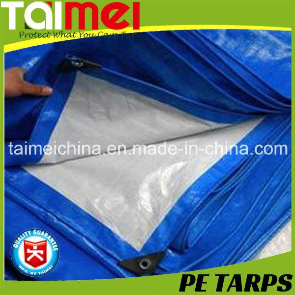 White/Blue Color Heavy Duty PE Tarpaulin Fabric
