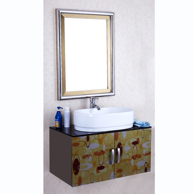 china colour stainless steel bathroom vanity with marble basin p8046