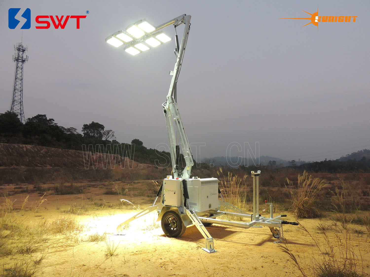 Fully Hydraulic Compact Sunight Lighting Tower with Extra Low Votage 2400W LED Lights Kholer