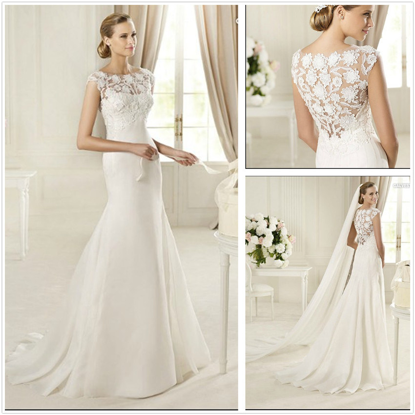 china new design lace and satin wedding dresses t10294