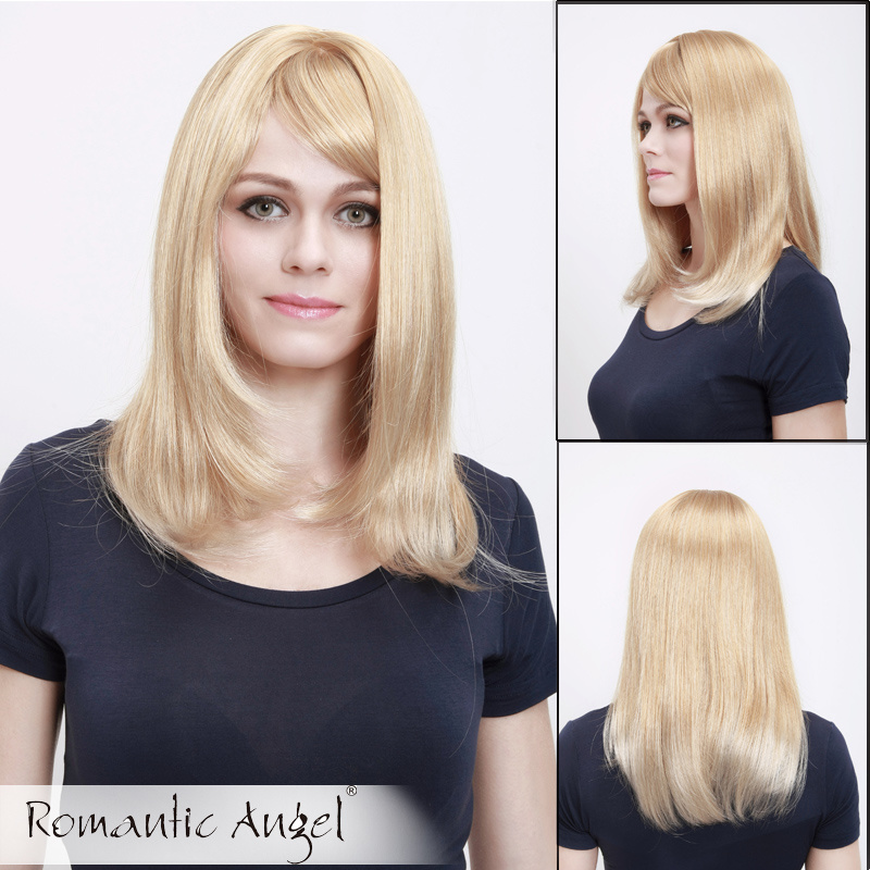 "18""/45cm Straight Fashion Light Color Synthetic Wigs Long Blonde Wigs with Side Bangs for Women Natural Hairline Eurasian Curly Hair Girls Style"
