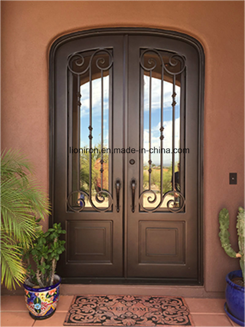 Security Wrought Iron Door Grill with Glass for Villa