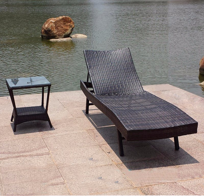 Home Garden Outdoor Furniture Swimming Pool Rattan Beach Sun Bed PE Wicker Sun Lounge Chair (T515)