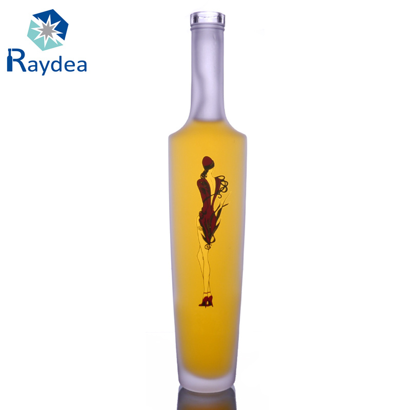 375ml Whiskey Glass Bottle with Frosting and Decal