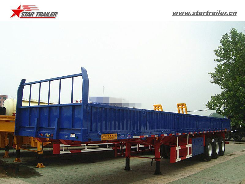 Tri-Axles Flatbed Sidewall Truck Trailer with High Bed