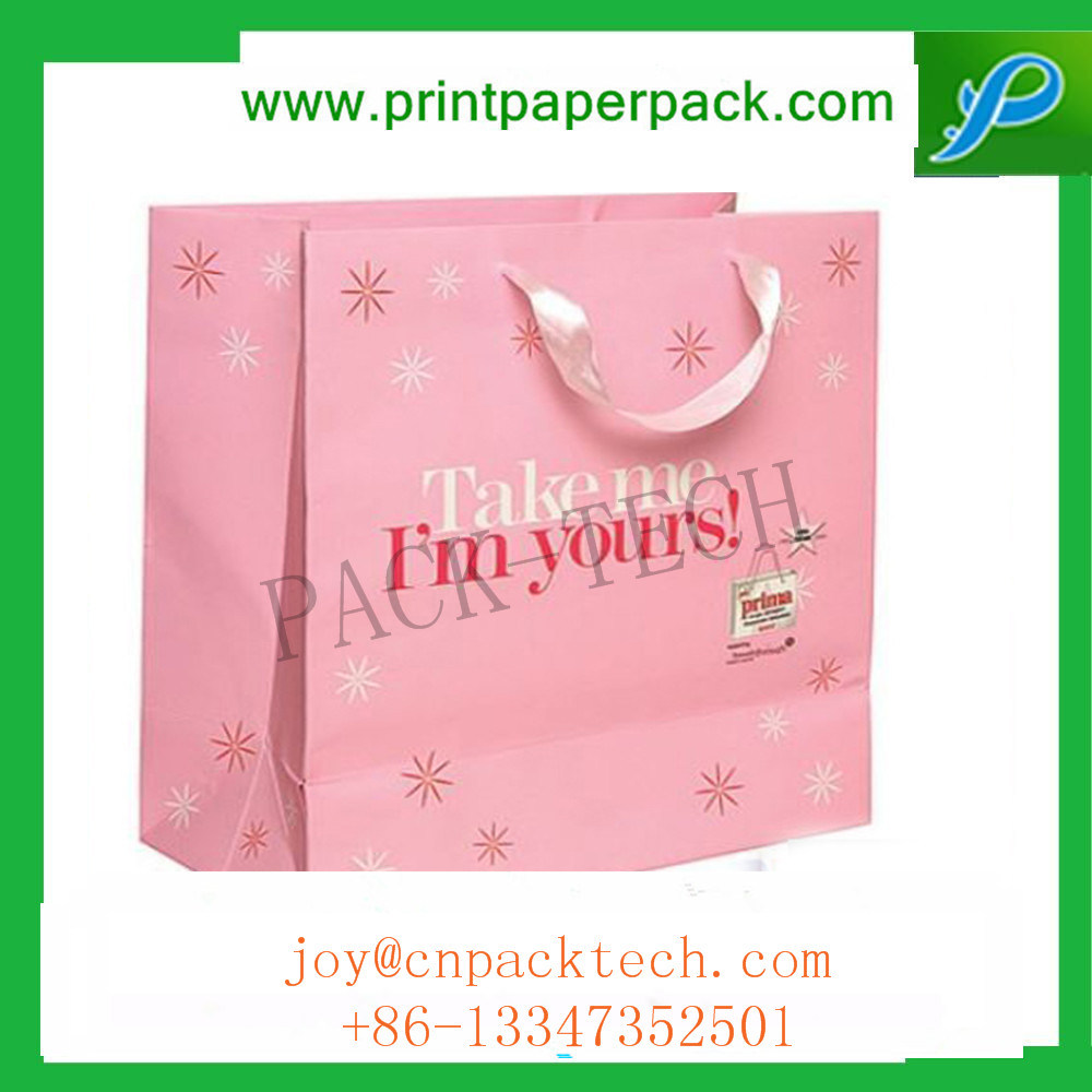 Customized Printing Color Garment Kraft Paper Bag with Silk Handle