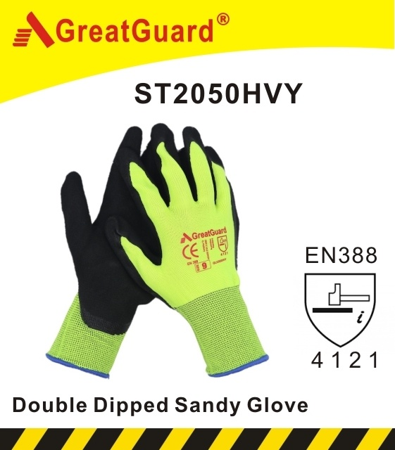 Hi Vis Sandy Foam Finish Nitrile Glove (CE Certificated)