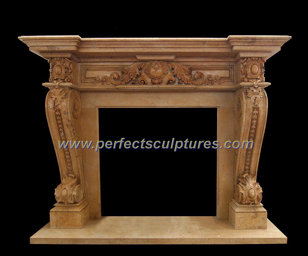 Carving Marble Fireplace for Outdoor Stone Fireplace Mantel (QY-LS286)