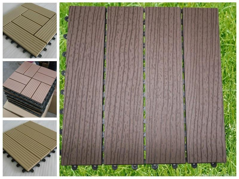 Easy Installation! Outdoor WPC Wood Plastic Composite Decking Tiles!