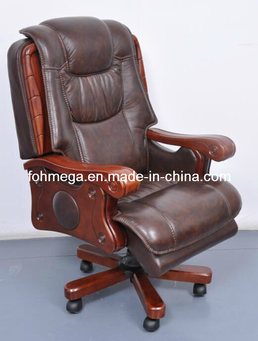 Wood Frame Genuine Leather Executive Office Chair (FOH-B108)