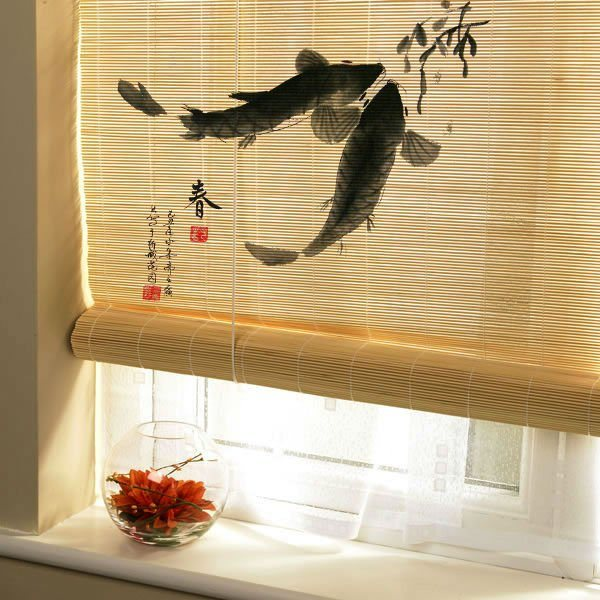 China Hand Painted Bamboo Blinds China Blinds Window