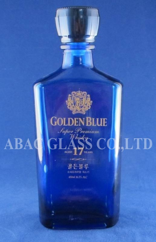 750ml Blue Glass Bottle