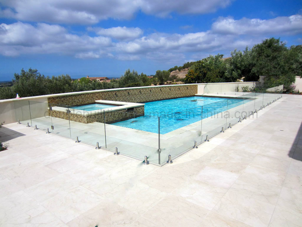 Glass Swimming Pool Fence with Round Spigot
