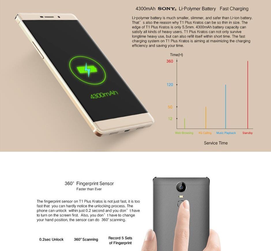 Vkworld T1 Plus Kratos 6.0 Inch 4G FDD-Lte Android 6.0 Mtk6735 Quad Core 2GB RAM 16GB ROM 4300mAh Fingerprint Mobile Cellphone Smart Grey