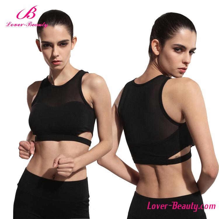 Factory Price Women Black Mesh Sports Wear Yoga Bra