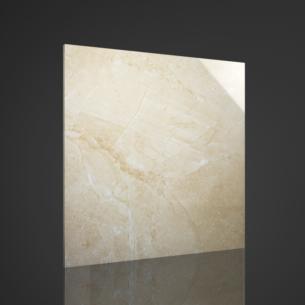 Foshan Tile 600X600mm Beige Marble Copy Glazed Polished Tile