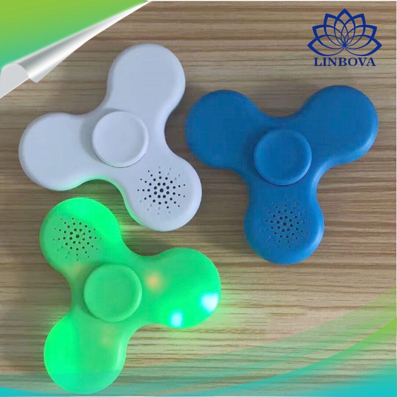 Plastic Gift Toy LED Finger Spinner Hand Spinner Fidget Spinner with Bluetooth Mini Speaker