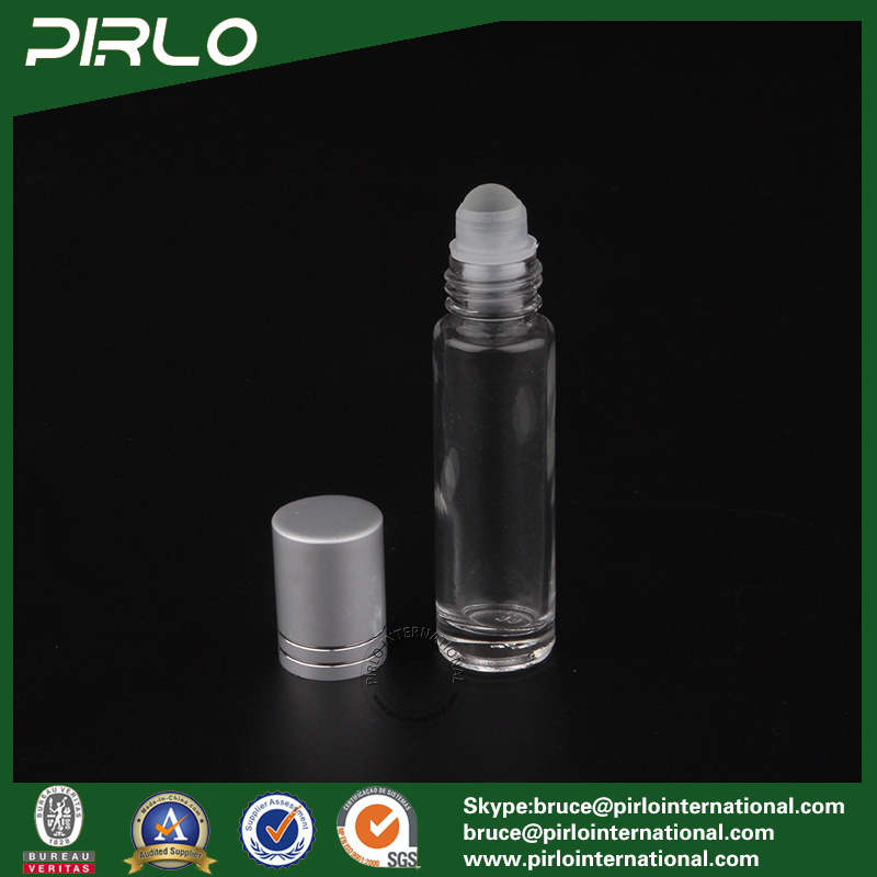 10ml Frosted or Clear Glass Roll on Bottle with Glass Roller and Metal Cap