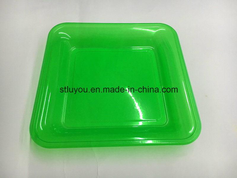 7 Inch Disposable Pet Neon Color Plastic Square Plate
