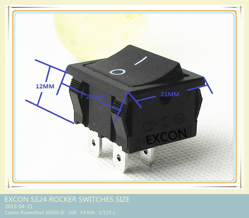 Switch Ss24 Series Square Rocker Switch with Size 21*24mm for Home Appliance
