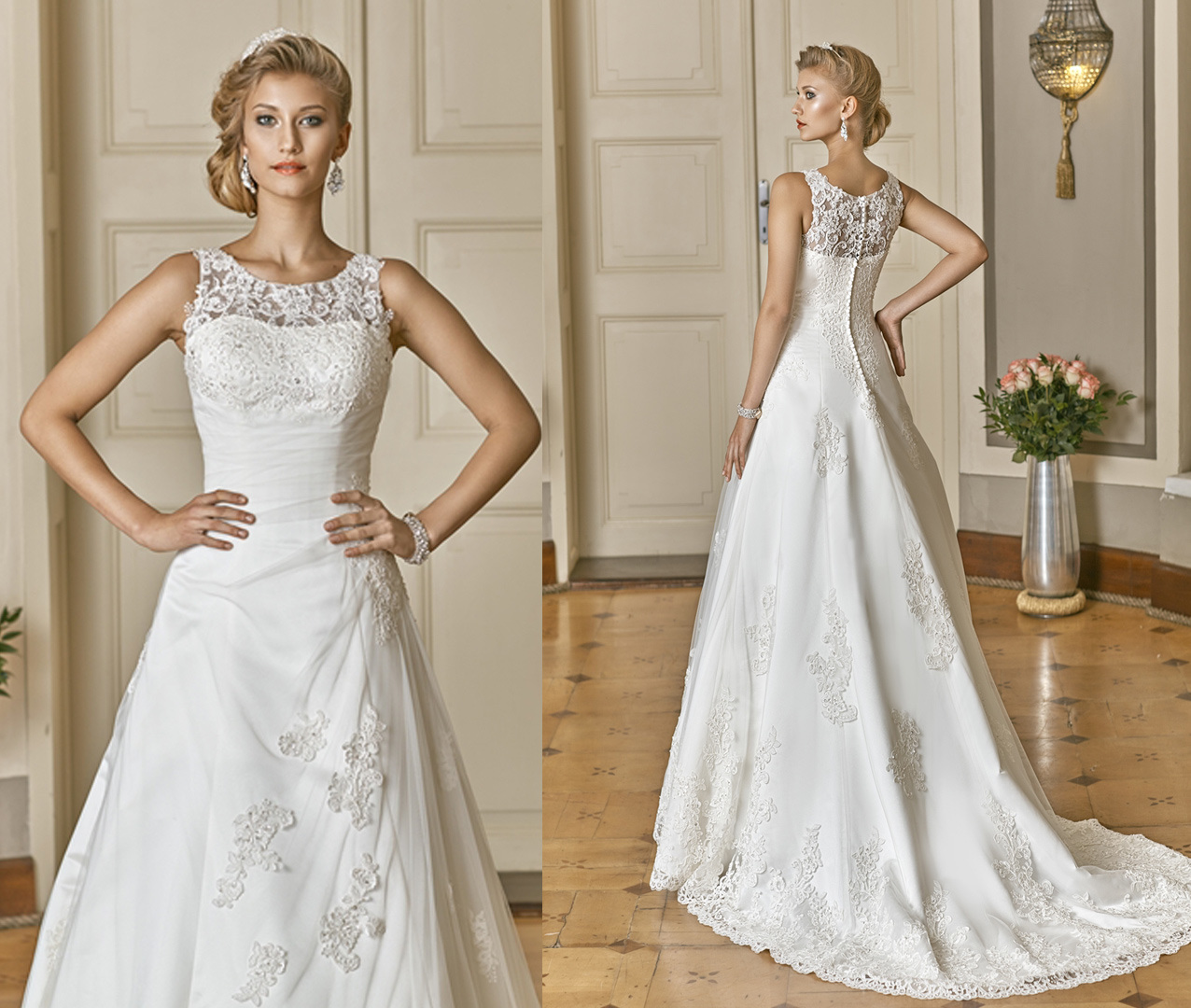 Soft and Flowing Boat Neck Wedding Gown