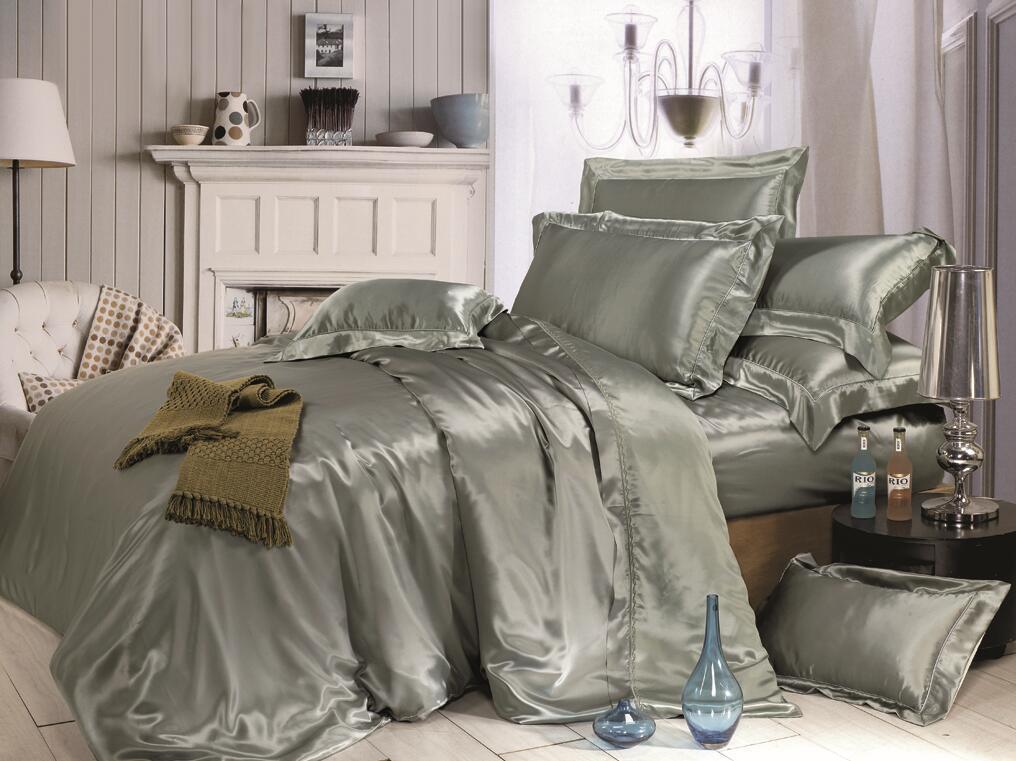 Taihu Snow Home Textile Oeko-Tex Quality Bed Linen Sheet Seamless Silk Duvet Cover Silk Bedding Set