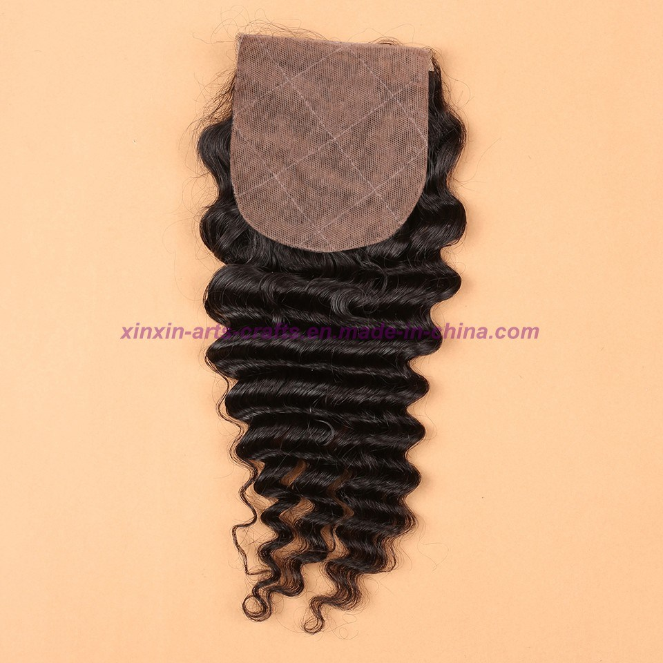 8A Human Hair Weave 3 Bundles Malaysian Deep Wave with Silk Base Closure Malaysian Virgin Hair with Silk Base