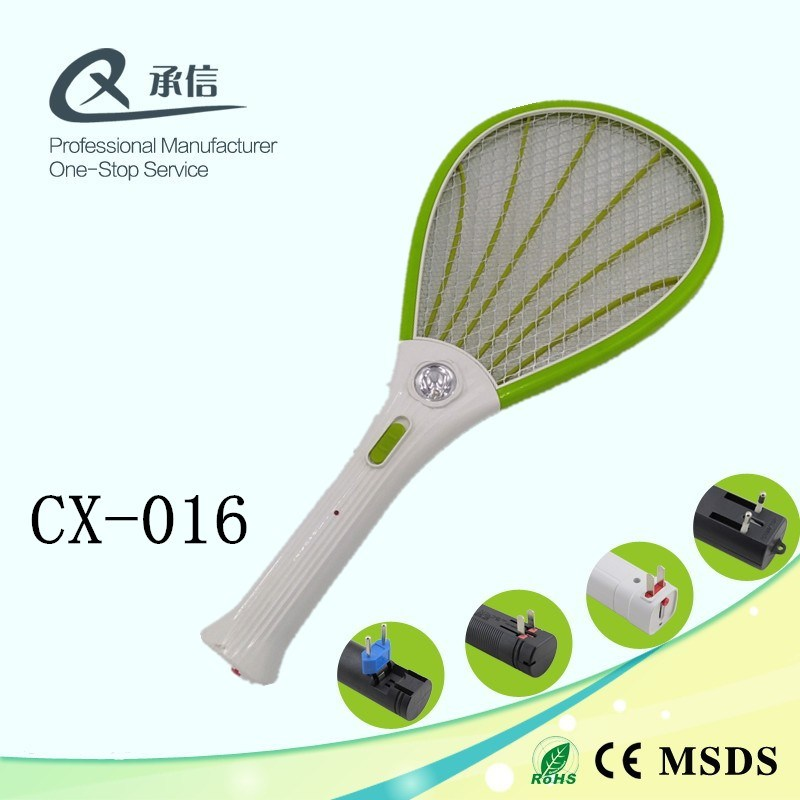White Handle Mosquito Swatter Racket Insect Killer with LED Light Design
