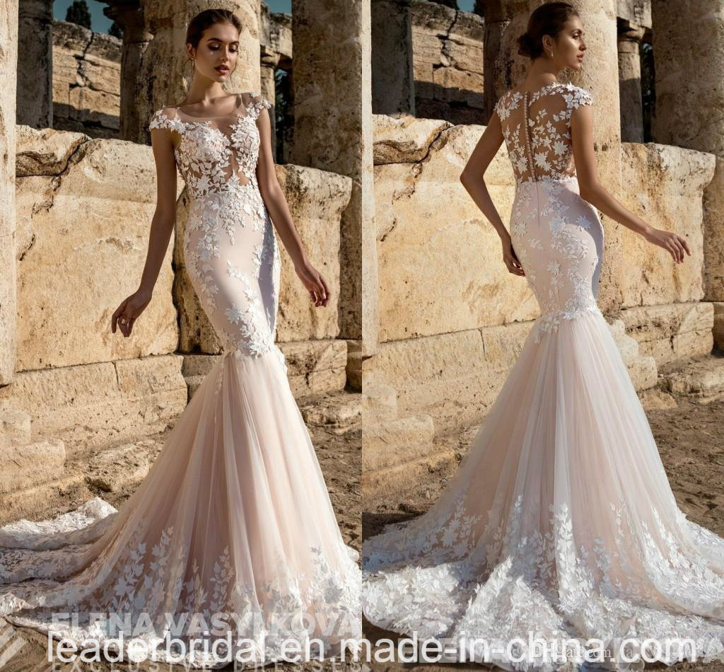 Lace Tulle Bridal Gowns Cap Sleeves Mermaid Wedding Dress 2018 Ya108