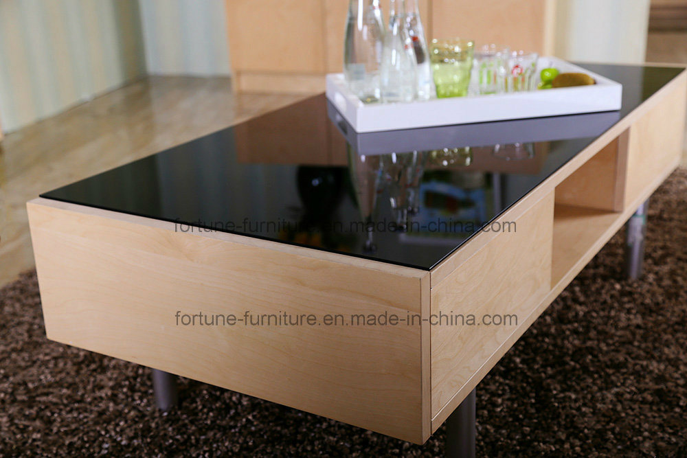 Modern Wooden Coffee Table with Tempered Glass Top and Steel Feet (AD-FY-N501-CJ)