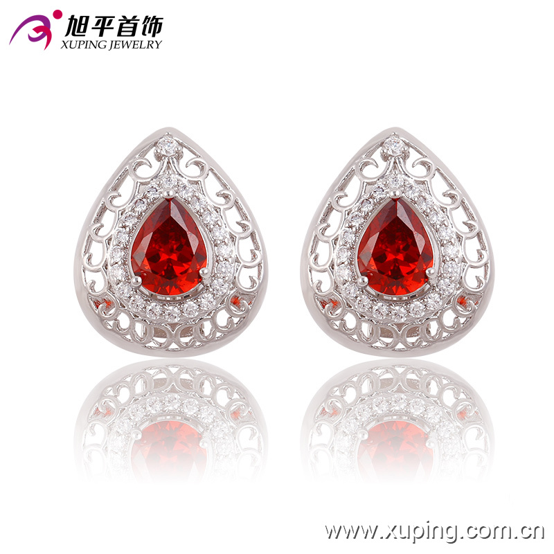90437 Latest Fashion Luxury Elegant Silver-Plated Crystal Heart-Shaped Jewelry Earring for Wedding