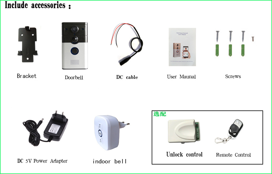New IR Night Vision Doorphone Video Door Ring Wireless Intercom WiFi Doorbell