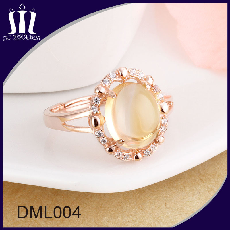 Rose Gold 925 Sterling Silver Women Wedding Ring with Big Yellow Crystal