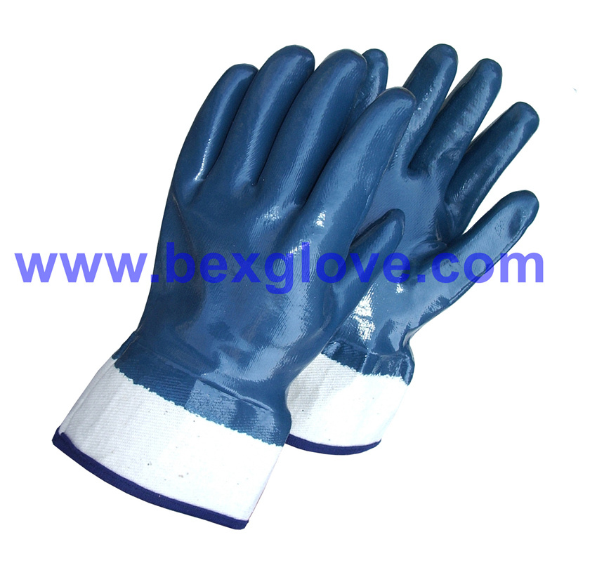 Cotton Jersey Liner, Safety Cuff, Nitrile Coated, Fully