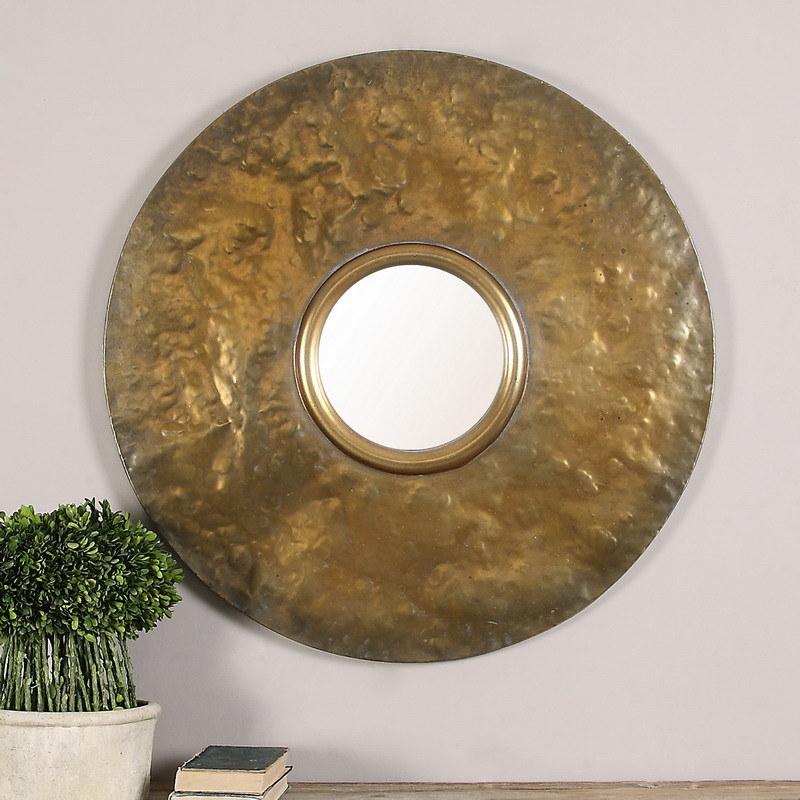 Round Hammered Metal Big Framed with Convex Wall Mirror for Home Decoration