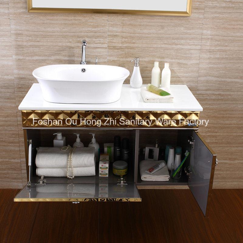 Customized Luxury Bathroom Vanity Bathroom Cabinet with Golden Colour