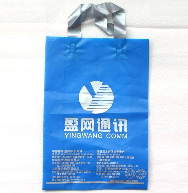 Printed Carry Plastic PE Shopping Bag with Soft Loop Handle
